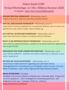 Maine South CCRC Virtual Summer Workshops 2020 1