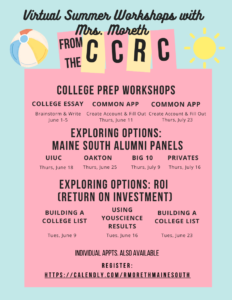 Moreth Maine South CCRC Virtual Summer Workshops 2020