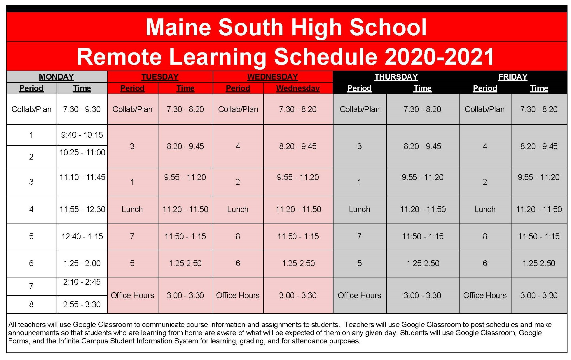 Bell Schedule for Parents and Students 2020 21