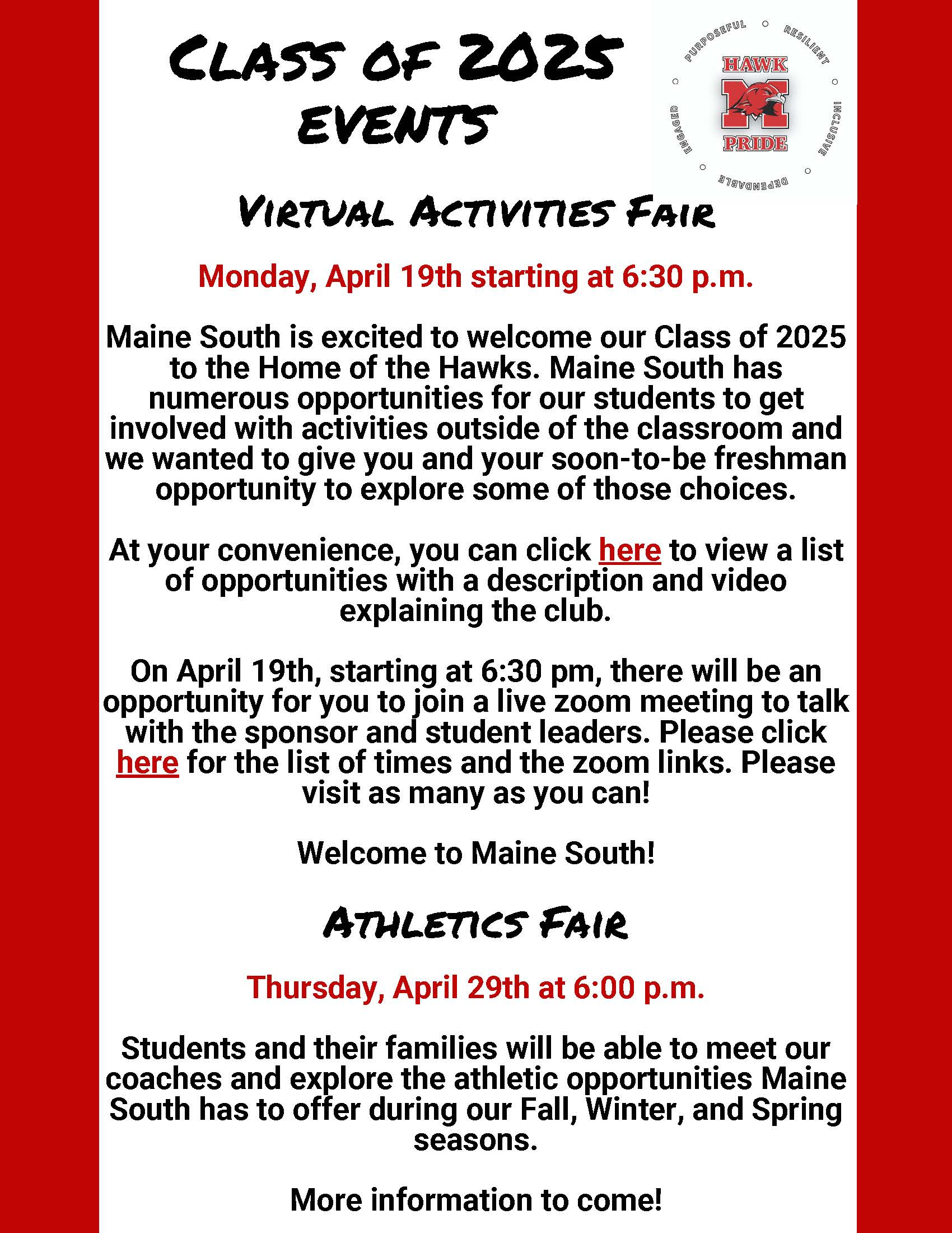 Class of 2025 Events