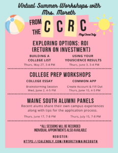Maine South CCRC Virtual Summer Workshops 2021 (1)