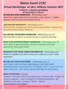 Maine South CCRC Virtual Summer Workshops 2021