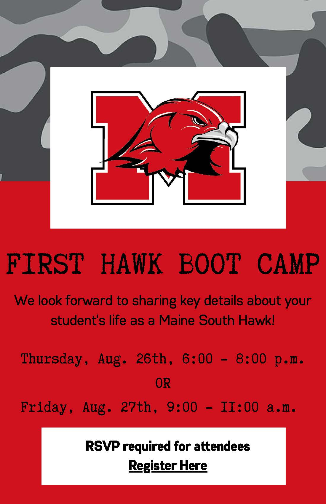 FIRST HAWK BOOT CAMP ad for August 2021